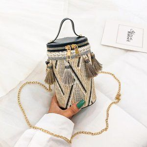 Staycation Tassle round bucket bag purse